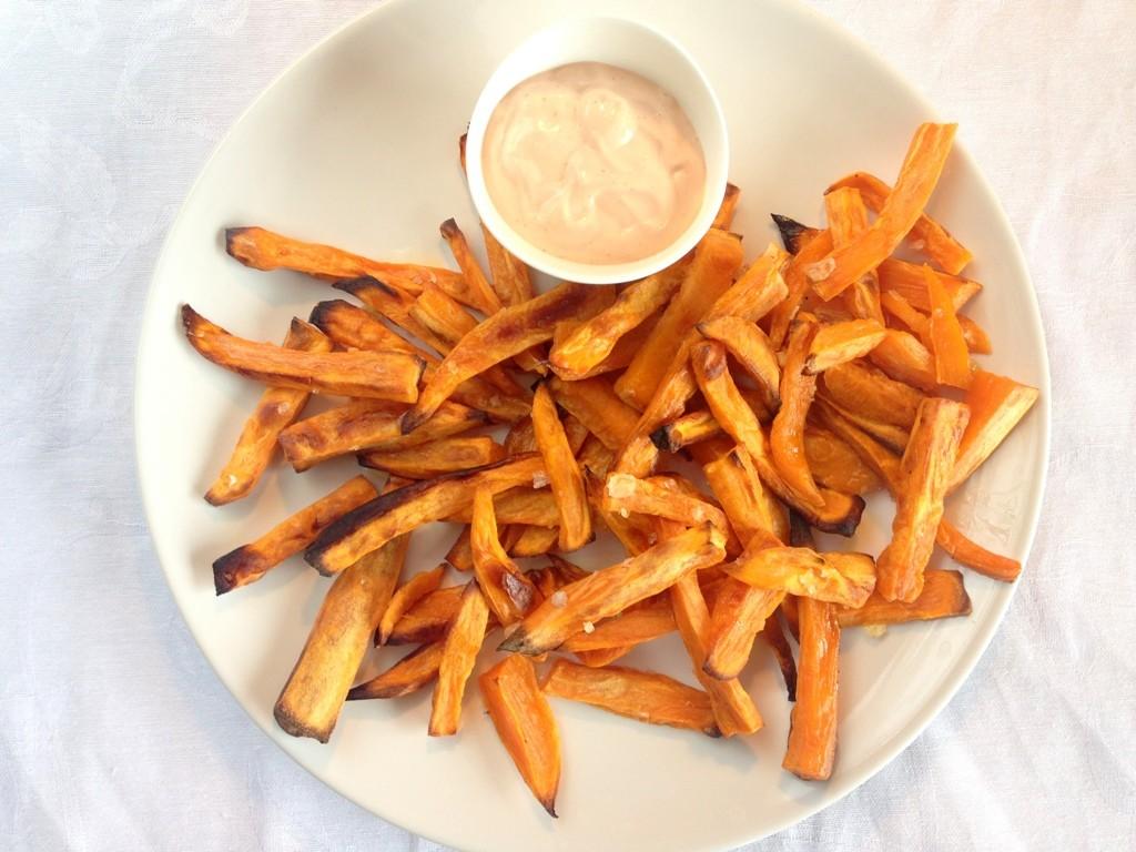 Sweet Potato Fries Med Dip Opskrift Madlingdk