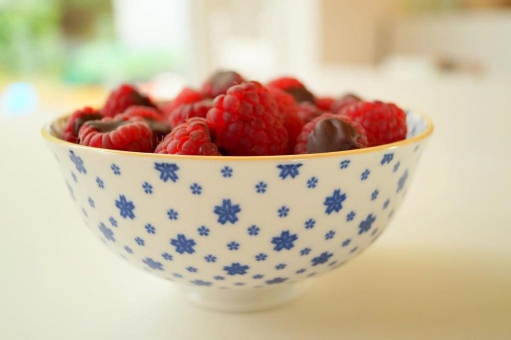 Hindbær fyldt med chokolade