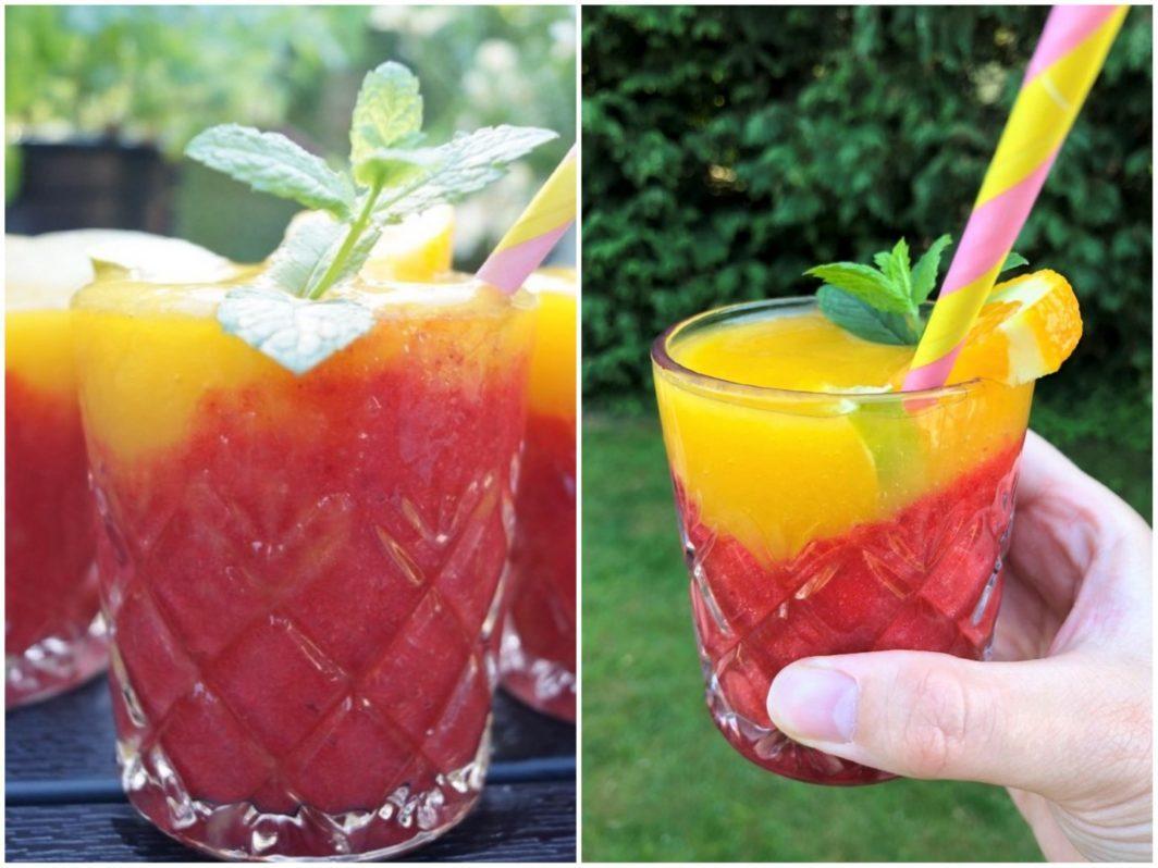 Kold sommerdrik med jordbær og mango