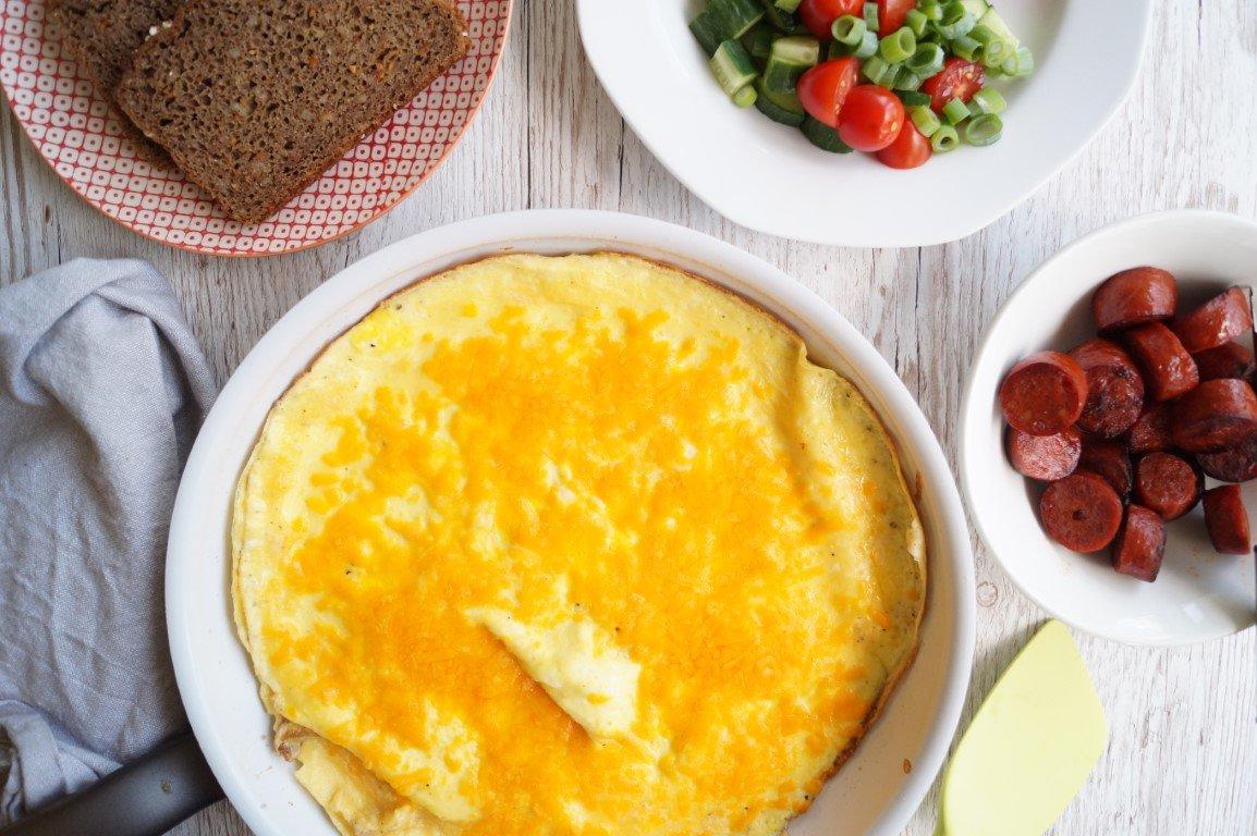 Æggekage med ost og chorizo